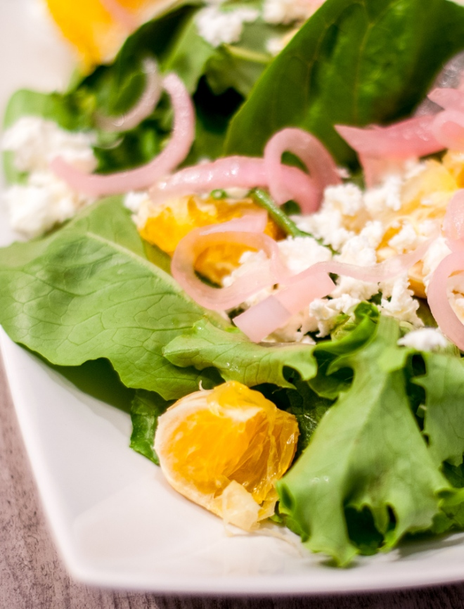 Mixed Greens Salad with Oranges, Pickled Red Onions and Feta