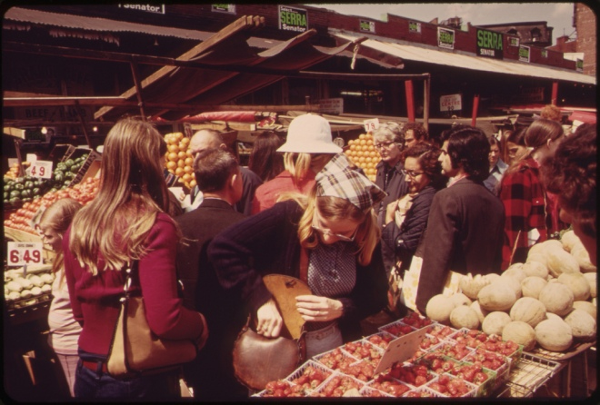 Outdoor Food Market at Haymarket Square. Public Protest Saved the Square from Incorporation Into an Expressway 05/1973