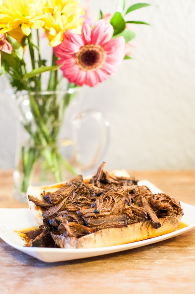 Slow Cooker Faux-Smoked Brisket from StirringThingsUpblog.com