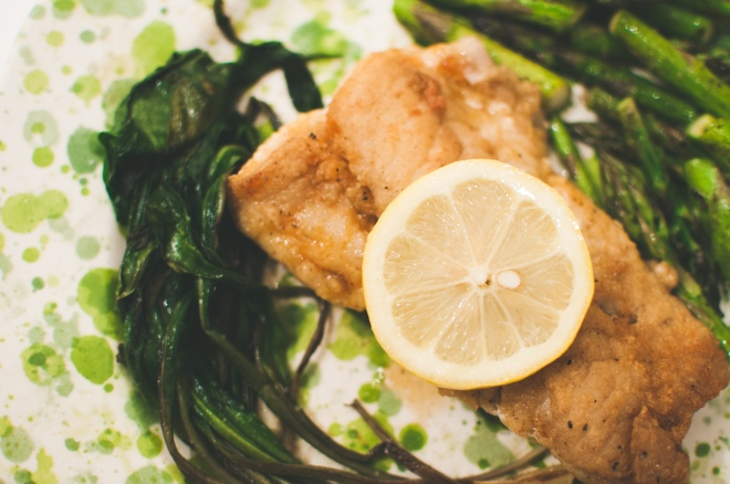 Pan-Seared Tautog White Fish with Ramps in Brown Butter and Asparagus - Quick and Easy Weeknight Dinner from @kristelpoole